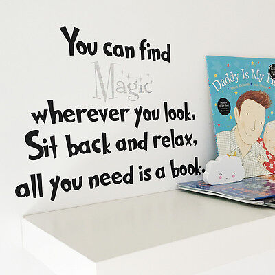 Dr Seuss All You Need is a Book Quote Nursery Sparkly Wall Art Vinyl Sticker