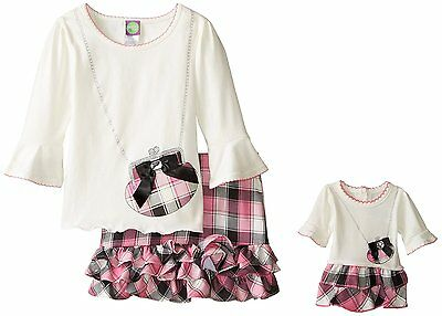 Dollie Me Girl 4-14 and Doll Matching Pink Plaid Skirt Top Outfit American Girl