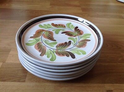 REDUCED 6 Dinner Plates by Denby Glyn Colledge Handpainted 1960/70s