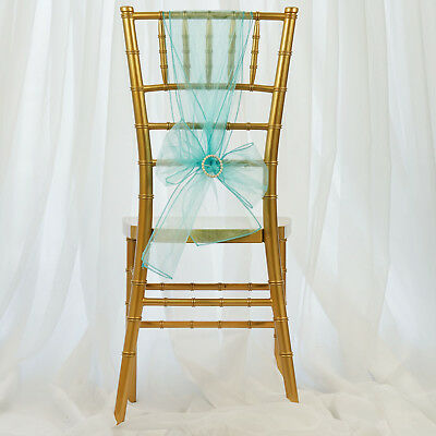 10 Turquoise Sheer Organza CHAIR SASHES Ties Bows Wedding Ceremony Decorations