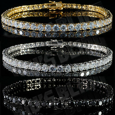 18k Gold Silver Black 1 Row Iced Out Lab Diamond Bling Hip Hop Tennis Bracelet