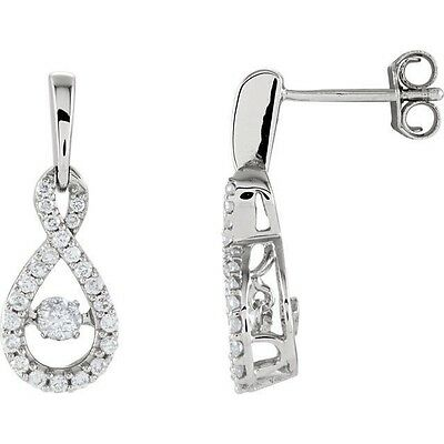 Genuine 3/8 ct tw Diamonds Infinity Style Dangles Earrings 14K. Solid White Gold