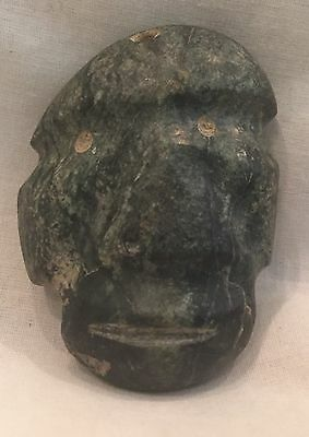 Pre-Columbian Mezcala Carved Green Stone Face Mask, Andesite?