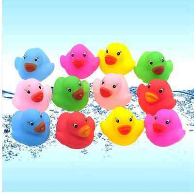 12 Mini Colorful Bathtime Rubber Duck Bath Toy Squeaky Water Play Fun Kids baby