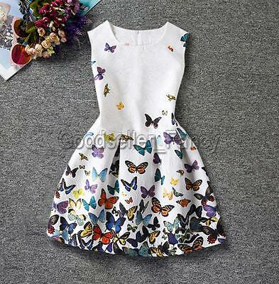 Kids Baby Girls Dress Buterfly Print Princess Sleeveless Party Pageant Dresses