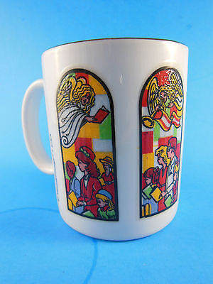 Rare LINYI Coffee Mug Church Cathedral Windows color picture heat changing dimen
