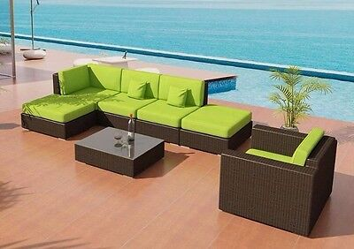 Patio Furniture Bellagio Outdoor Wicker Java Sectional Sofa Set LongLasting VIRO