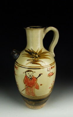 Chinese Antique Cizhou Ware Brown&Red Colored Porcelain Wine Pot