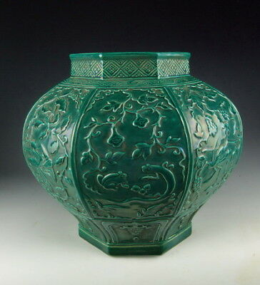 Chinese Antique Green Glazed Porcelain Pot with Incised Pattern