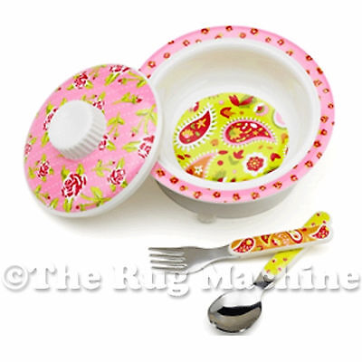 Sugar Booger Paisley Tea Party Kids Suction Bowl Gift Dinner Set **New**