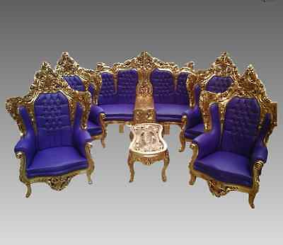 Old Rococo stylish complete living room set from Italy with coffee table