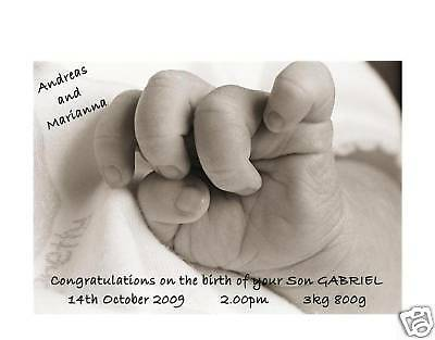 Personalised A5 BIRTH OF NEWBORN BABY CARD BOY OR GIRL FRIENDS NEW PARENTS GIFT
