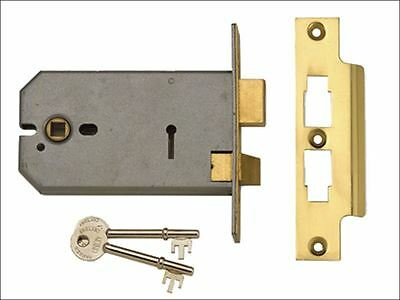 UNION - 2077-5 3 Lever Horizontal Mortice Lock Polished Brass 124mm
