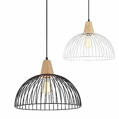 NEW CLA Strand Iron Wood Modern Ceiling Pendant Black White Wire Cage