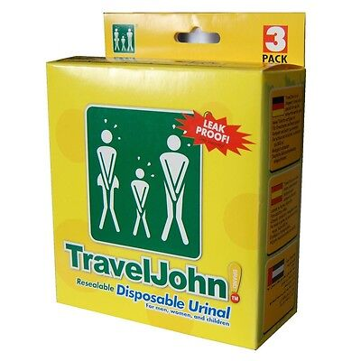 TravelJohn Pack of 3 Resealable Disposable Urinal ideal for Kids Camping & Trips