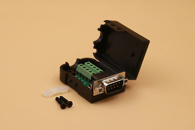 DB9 Male D-Sub 9 Pin Plug Breakout Terminals Solderless Nut Type Connector PLUS