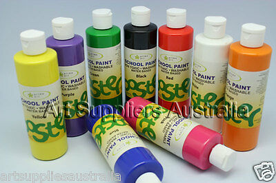 Pack 6 of  School Paints 250ml Washable & Non-toxic, Waterbase Kids paints