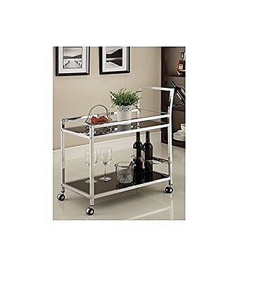 Rolling Kitchen Serving Cart Bar Tea Drink Wine Utility Chrome Tempered Glass