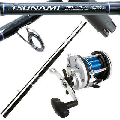 Kit Trabucco Da Pesca Canna Tsunami Fighter e Mulinello jd Trolling PLA
