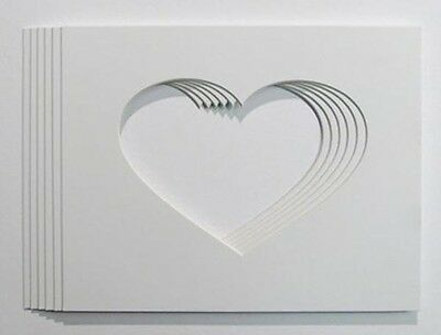 Packs of A4 Ivory  Heart shaped Photo and Picture Mounts 7x5