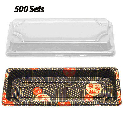 Sushi Container w/Lid (8.5x3.5x0.7in) (500 Sets) Plastic Sushi Box/Takeout/To Go