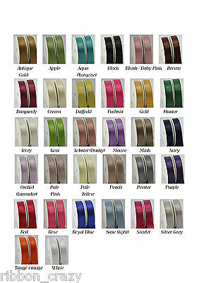 5 Metres of woven edge double sided quality satin ribbon in 4 widths 32 colours