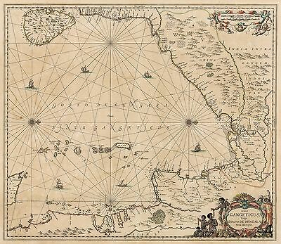 Antique Sea Chart of the Bay of Bengal, India, Bangladesh, Myanmar Jansson 1657