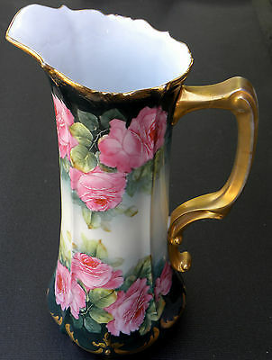 Antique Porcelain Tankard Bavarian Hand Painted Pink Cabbage Rose Signed J Braun