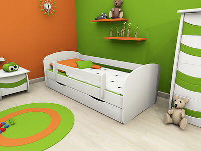 Kids Toddler Bed Frame with mattress 140 x 70 single drawer