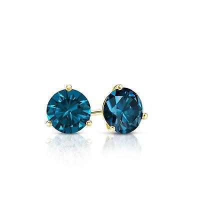 1 Ct Round Blue Earrings Studs Martini Real 14K Yellow Gold Brilliant Screw Back