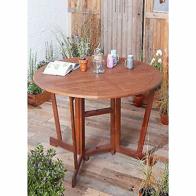 Windsor Round Gateleg Garden Folding Dining Table Solid Wood Outdoor 110Cm