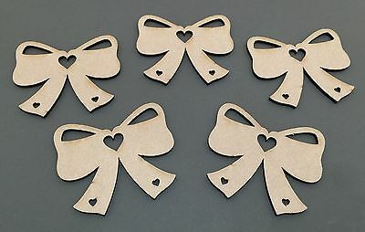 C27 Love Heart Bows Ribbon 100mm Plaques Laser Cut MDF Craft Shapes Blanks