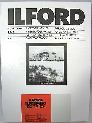 "Ilford Ilfospeed RC Deluxe 5""x7"" 25 sheets Pearl Black & White Paper"