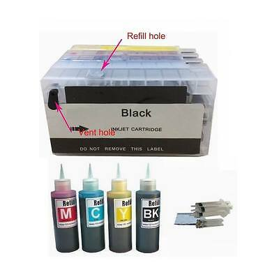 4 Pack Empty Refillable ink cartridge for HP 950 951 plus 4x100ml ink bottles