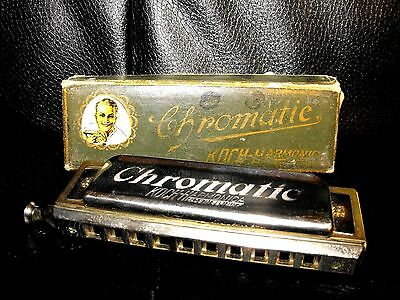 Vintage KOCH CHROMATIC HARMONICA MADE IN GERMANY with Case Excellent Condition