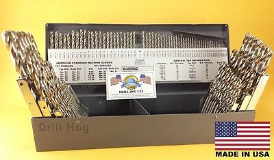 Drill Hog® 115 Pc Drill Bit Set Letter Number Niobium Nb41 USA Lifetime Warranty