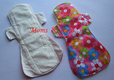 Pack of 2 New Women's Reusable Menstrual Cloth Pads Sanitary Pads Pink Flower