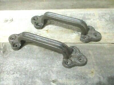 2 Large Rustic Cast Iron Barn Handle Gate Pull Shed Door Handles Vintage Look