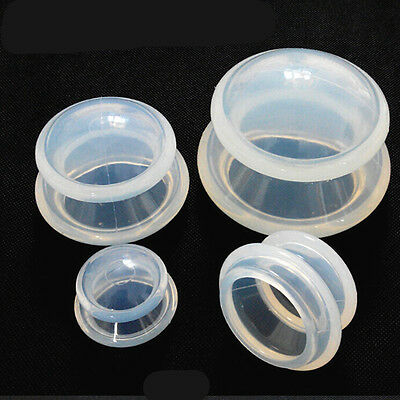Set of 4 Medical Vacuum Silicone Transparent Massage Cups Cupping Jar Body NEW