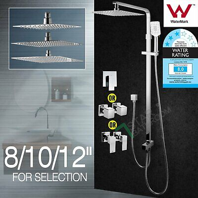 Square Shower Head Hand Held Sliding Rail Wall Arm Set Mixer Taps 8''/10''/12''
