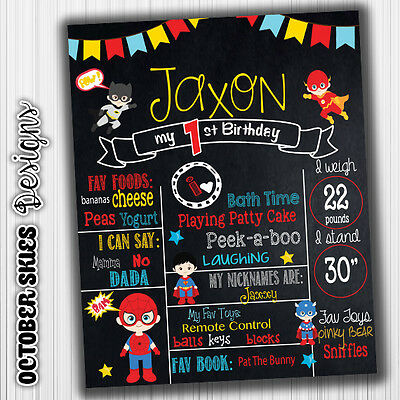 Baby SuperHeros Birthday Chalkboard, Digtal File, Announcement, any age