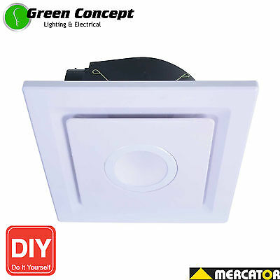 Mercator Emeline Small Bathroom Square Exhaust Fan with 10W LED Light DIY White