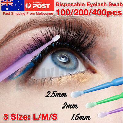 100pcs Disposable Eyelash Swab Applicator Micro Brush Mascara Tool Extension AUS