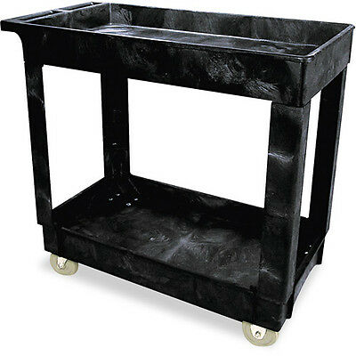 Rubbermaid Commercial Black 2 Shelf Service/Utility Cart