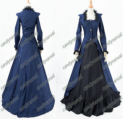 Victorian Edwardian Period Dress 2-PC Suit Steampunk Cosplay Theater Costume