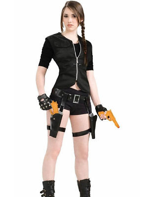Lara Croft Thigh Holster Leg Strap & Gun Set Costume Fancy Dress Party Accessory