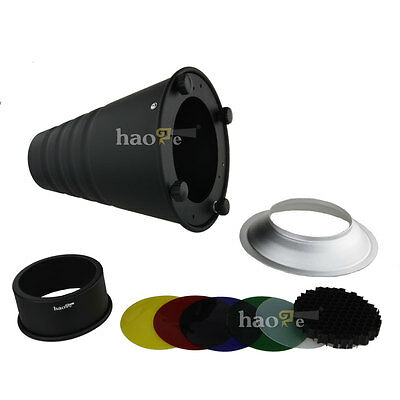 Conical Snoot + Honeycomb Grid for Balcar Alienbees Mount Strobe Flash Light