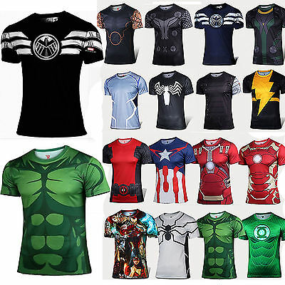 Mens Marvel Compression Sport T-Shirst The Avengers Super Hero Cycling Tee Tops