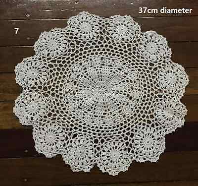 EXTRA LARGE VINTAGE ANTIQUE HAND CROCHETED TABLECLOTH DOILE DOILY white or ecru