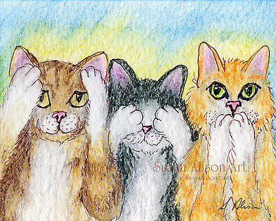 cat 8x10 print three wise monkeys see no evil hear speak tabby by Susan Alison